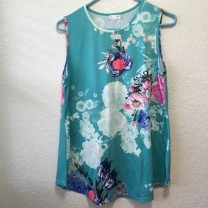Tobrief Floral Sleeveless Top Women's Size Large